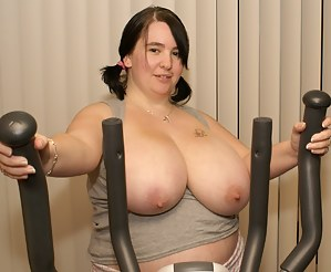 Got myself a new crosstrainner while i was exercising on it my huge tits came spilling out over my tight tiny gym top