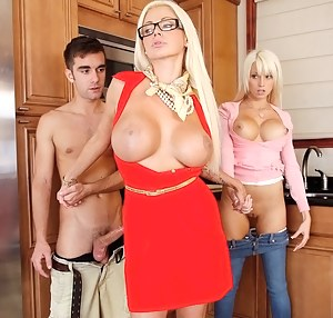 Enjoy watching unforgettable threesome between slutty mom, her juicy daughter and amazingly strong guy. They are all feeling high fucking each other.