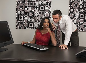 That's not sexual harassment if he's into it, right? This stunning black chick decides to seduce him with her amazing-looking tits.