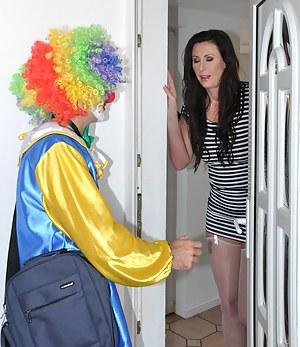 Crazy beautiful naked lady fucking a horny clown hardcore