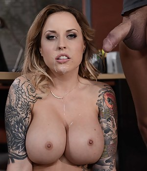Jizzing on the tattooed lady wearing sexy lingerie is what this man is fond of. He is also feeling great penetrating her holes with his thick dick.