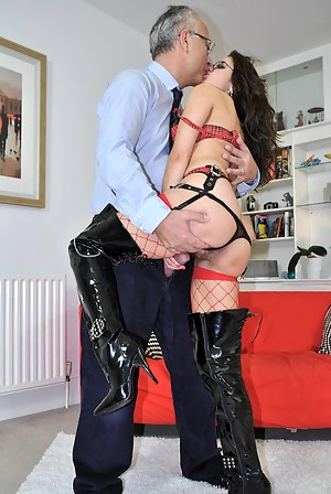 Hot stockings girl playing with a british boner in her mouth