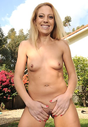 Blonde 41 year old Charli Shay from AllOver30 having fun naked outdoors