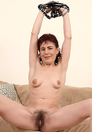 Furry pussied Kate T showing off her all natural 40 year old body