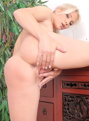Elegant blonde 36 year old Marlene from AllOver30 opens her legs here