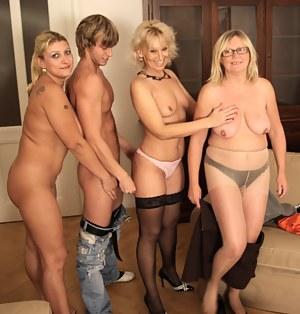One lucky dude and three horny mature sluts