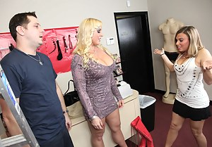 Tight dress blonde MILF gets excited and drops to her knees, waiting for this chubby dude to fuck her face, he obliges and fucks her pussy too.