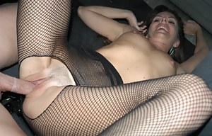 Horny lady in black stockings is enjoying passionate sex with the stranger in his car. She is screaming loudly being penetrated so hard.