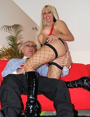 Blonde bimbo playing with senior jim his stiff erection
