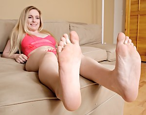 Casey's feet are a little dry. She wants to show you her little trick to get them back to perfection. Isn't it so hot how she does it?