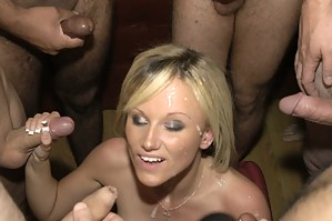 Gorgeous English rose and pornstar honey, Barbie Styles, came along during one of our spunky shoots, simply to join in and get covered!!! RESULT! This stunning blonde cumjunkie sucked a few cocks and got absolutely covered in spunk!