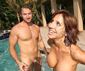 Picturesque swimming pool is a great place for having wild sex with MILF. She is really surprised to see such a huge aggregate.