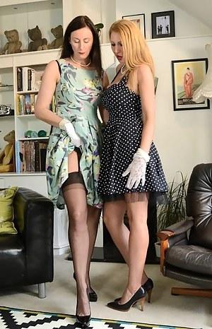 Slutty lesbian Lara Latex enjoying a busty blonde friend