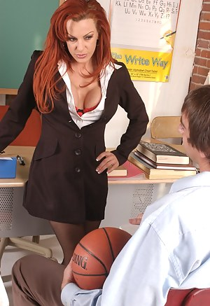 This teacher's attire just screams FUCK ME. Her big-dicked student happily obliges and destroys that soaking wet pussy of hers.