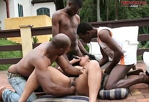 Mature slut getting fucked in a black dude gang bang