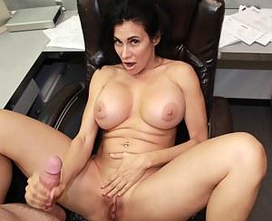 Busty milf Shella jerking off her boss