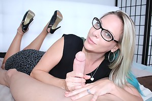 Blonde milf Vicky stroking big cock until she brings it to the brink of orgasm and makes it cum hard