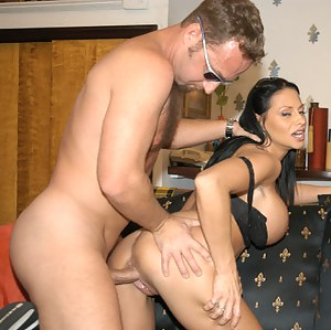 Slutty MILF is enjoying hardcore fuck session and getting her fake tits covered with cum. She is licking her tits to swallow some drops of sperm.