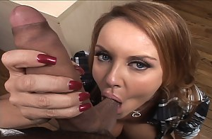 Watch how a big tits redhead has her MILF twat nicely licked out while in a tight skirt by one of her astounding coworkers in the office.
