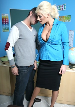 She decides to fuck this younger dude, but she has to make sure his cock is big enough for her leaking MILF pussy. It actually is!