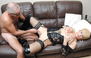 George and Di are soon snogging on the sofa and stripping each other off. They then get down on the sofa and George eats