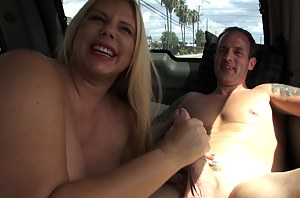 Karen Fisher was traveling through Houston and staying for a couple of days. Never fucking in the back of a car, she asked if we could set it up for her.Once again we met her with one of our Siren Strokers at her room. Drove her behind a shopping center t