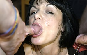 Barbie Stoker is an English milf who contacted us after seeing one of our sticky bukkake party videos and loved the idea of being the center of all that male attention. Rest assured, bukkake virgin Barbie wanted EVERY drop of cum