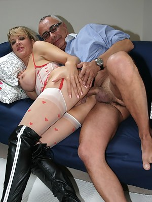 Senior loves to get naughty with a big titted British girl