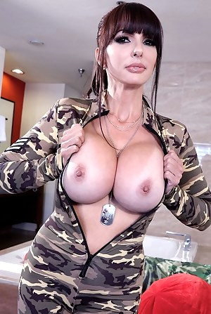 Busty drill sergeant Catalina Cruz big tits popping out of her bodysuit