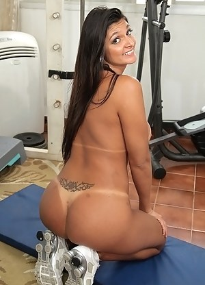 Sexy brunette wearing sport uniform is fucking with her instructor in the gym. She is letting him fuck her amazingly hard and deep.