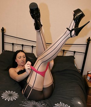 Our sexy heroine may have chosen some strange hosiery, but nonetheless it does make taking a big cock in the shit hole a