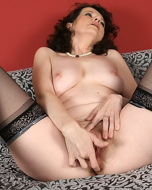 Horny 40 year old Czech with hairy pits and pussy toys herself