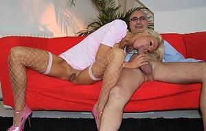 Dirty British blonde street slut fucked by a senior stud