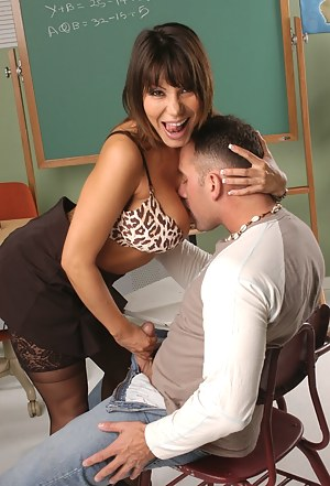 She's not above fucking her student, since this one looks old enough to say the least. Enjoy this hottie's masterful fucking performance.