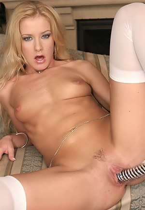 Wonderful blonde is getting naked and torturing her wide ass with fingers and toys. She is also going crazy being fucked with her man's penis.