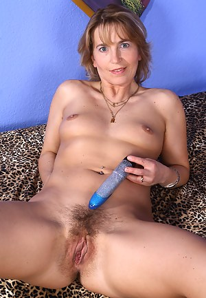 Sweet hairy pussied Kate M. enjoys her blue plastic friend