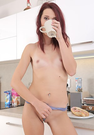 Petite 37 year old Breanne spreads wide  while enjoying her coffee