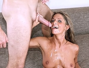 Lovely MILF is falling in love with this strong young man doing some exercises on the beach. She is getting banged with his strong boner.