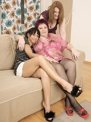 hot lesbian sex party with the mature lady leading the way