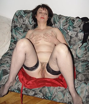 Horny old lady showing her wet cunt