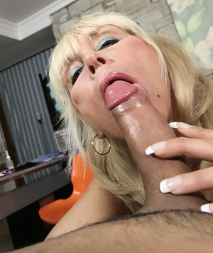 Grandma Shelly jerking and titty fuck huge cock