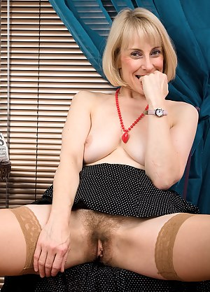 53 year old Hazel shows off her hairy pussy after a breakfast read