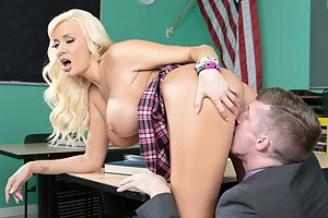 Enter the green classroom and see the blonde schoolgirl satisfying her strong teacher. She is tasting his boner and being banged wildly on the desk.