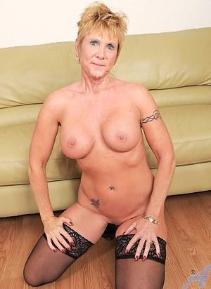 Cock hungry Anilos grandma wears heels and stockings as she fucks her boss
