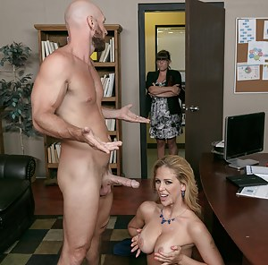 She's ready to do everything: let him eat her out, get throat-fucked, get ruthlessly drilled from behind, ride his cock, fuck on the desk, etc.