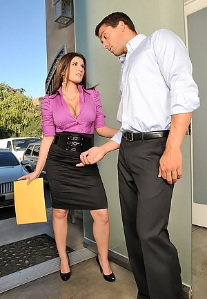 Beautiful girl with big tits demonstrates her camel toe and seduces her new delivery guy for a hot fuck in the office while her boss is out.