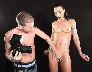 Juicy MILF is pretending to be the hottest model in the world. She is getting naked in front of camera and fucking wildly with the photographer.