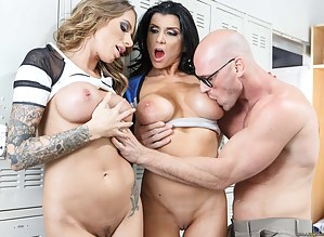 Nothing can stop the strong bald guy punishing two juicy cheerleaders. These busty sluts are taking off their uniform and being fucked with his huge cock.