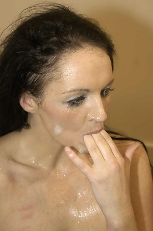 Sexy British brunette babe Rachel LOVES her spunk... just loves it! So when asked if she'd like to come to ours for a bukkake shoot party, she got juicy at even the thought of it! Check out sexy Rachel taking facial after facial!