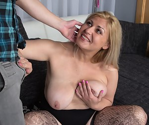 Naughty chubby lady playing around with her toy boy